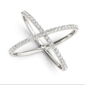 Silver Criss Cross Diamond CZ Fashion Ring